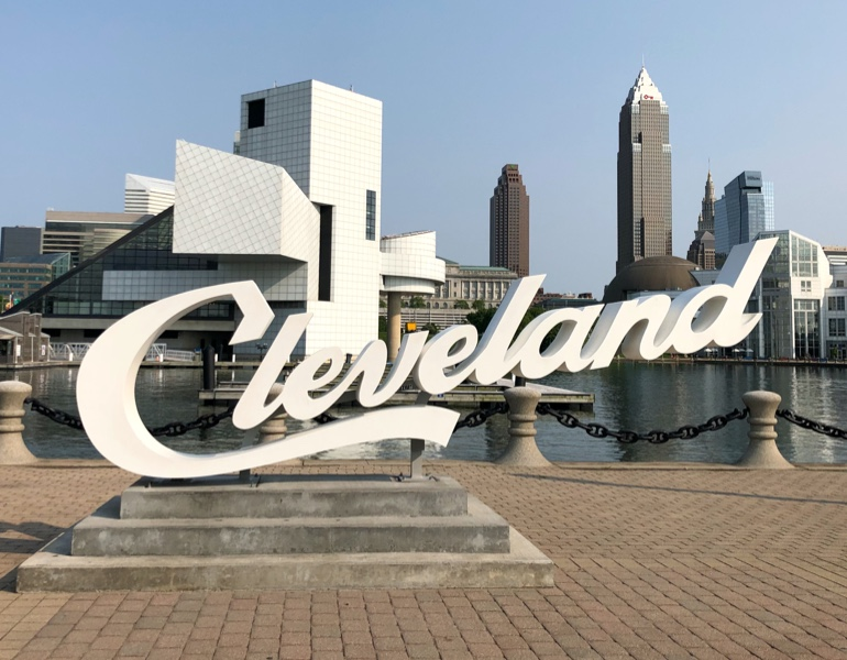 Cleveland sign in front of river